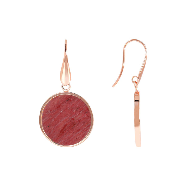 Bronzallure Mini Red Fossil Wood Earrings