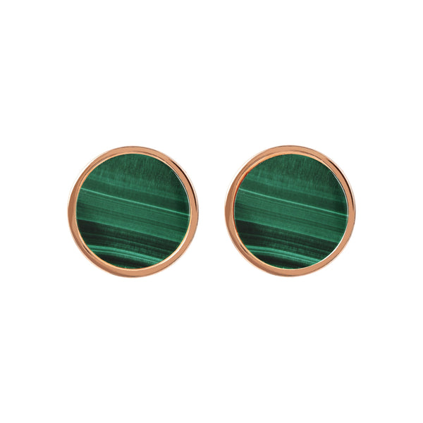 Bronzallure Malachite Button Stud Earrings