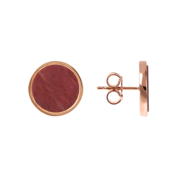 Bronzallure Red Fossil Wood Button Stud Earrings