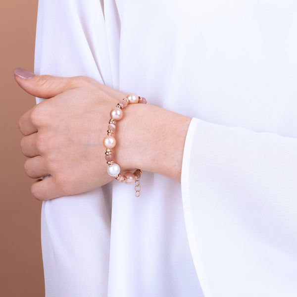 Bronzallure Ming Pearls And Moonstone Bracelet