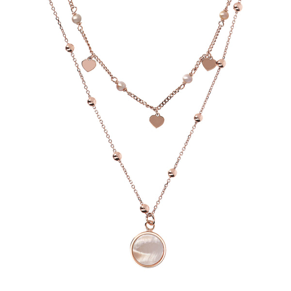 Bronzallure Two Strands Mother Of Pearl Necklet