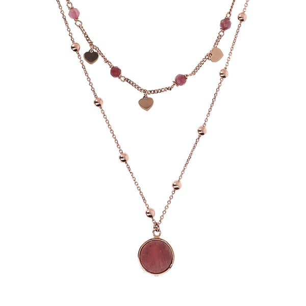 Bronzallure Two Strands Red Fossil Wood Necklet