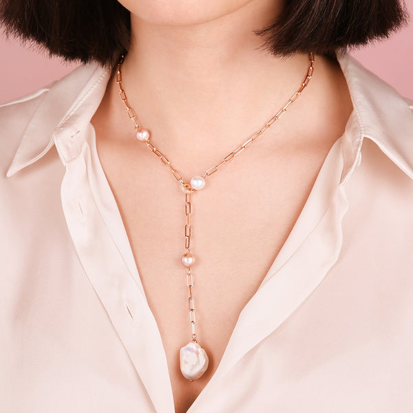 Bronzallure Y Necklace with Forzatina Chain and Pearls