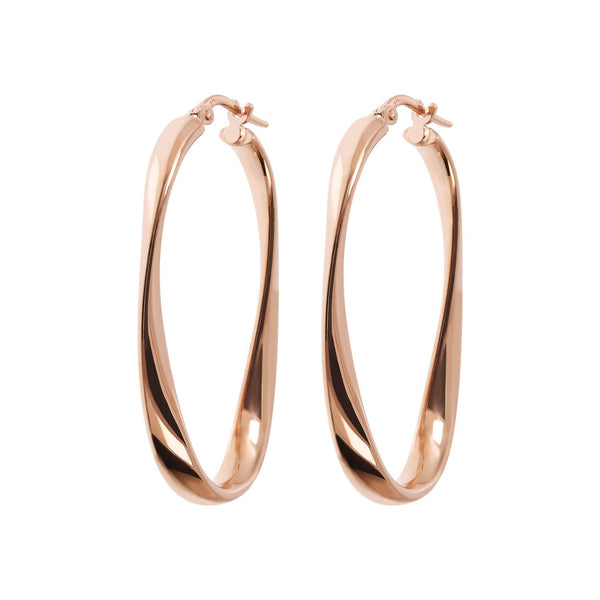 Bronzallure Twisted Rose Oval Hoop Earrings
