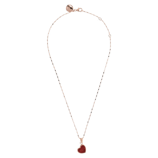 Bronzallure Red Fossil Wood Mini Heart Pendant Necklace