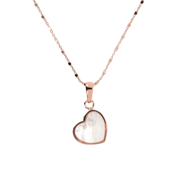 Bronzallure Mother Of Pearl Mini Heart Pendant Necklace