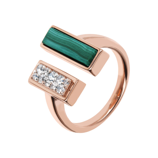 Bronzallure Malachite & Cubic Zirconia Carre Ring