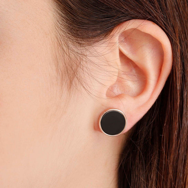 Bronzallure Black Onyx Button Stud Earrings
