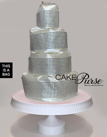 White and silver tiered wedding cake purse by Ms Candy Blog