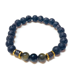 Beaded obsidian bracelet