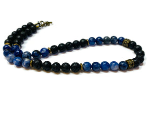 Sodalite and Lava Rock beaded necklace