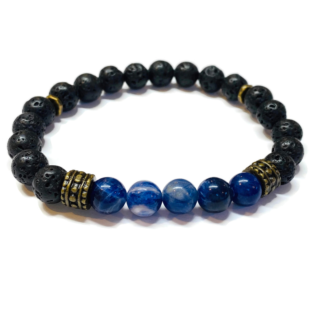 Sodalite and Lava Rock Bracelet