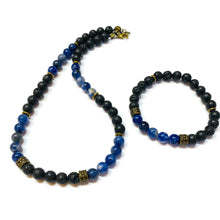 Load image into Gallery viewer, Sodalite and Lava Rock beaded necklace