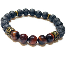 Load image into Gallery viewer, Tiger eye and Lava Rock Bracelet