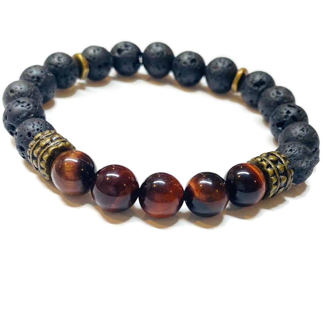 Tiger eye and Lava Rock Bracelet