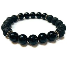 Load image into Gallery viewer, Black Onyx and Lava Rock bracelet