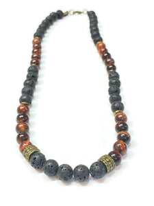 red tiger eye and lava rock necklace