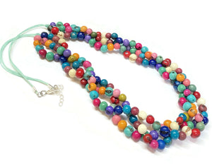 Colorful Multi Strand Necklace Spring