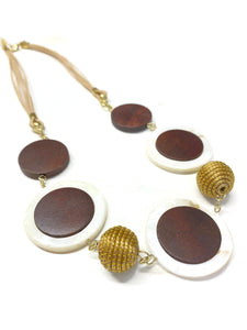 Mother of Pearl and Wood Necklace