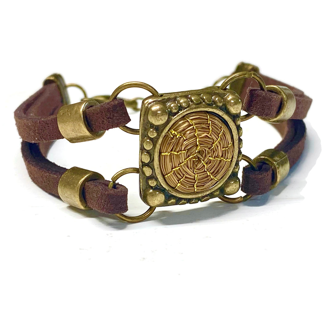 Leather Golden Grass Bracelet