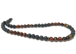 tiger eye and lava rock necklace