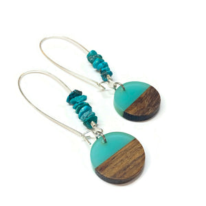 Turquoise Hoop Earrings Wood and Resin