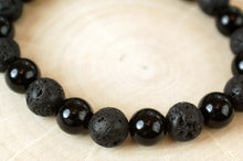 Load image into Gallery viewer, Lava Bead and Black Onyx Bracelet
