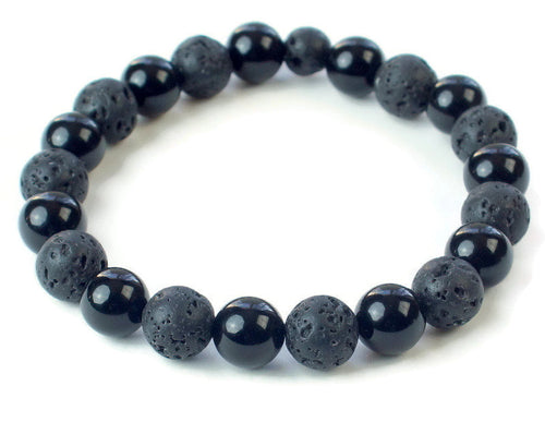 Men black lava rock bracelet