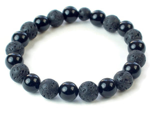 Lava Bead and Black Onyx Bracelet