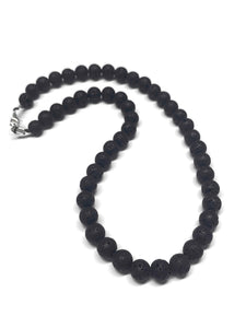 Lava Beaded Necklace Black Lava Rocks
