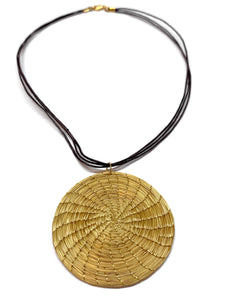 Boho Pendant Necklace, Woven Pendant, Golden Grass
