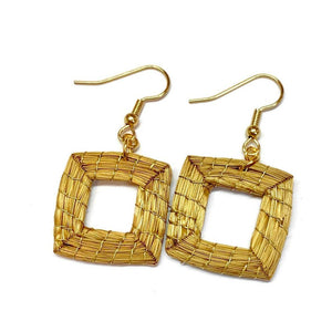 Geometric Earrings Golden Grass