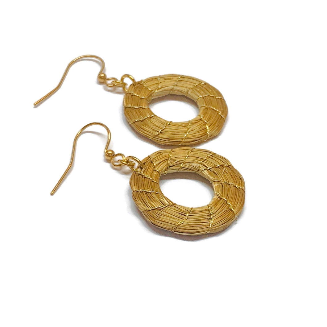 Hoop Earrings Golden Grass
