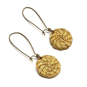 Boho Arched Golden Grass Earrings