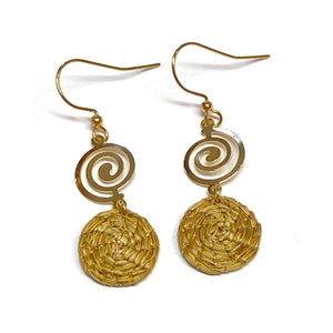Spiral Hoop Earrings, Gold filled, Golden Grass earrings