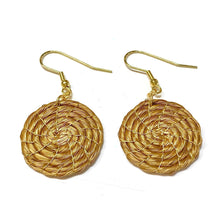Load image into Gallery viewer, Twisted Golden Grass Hoop Earrings