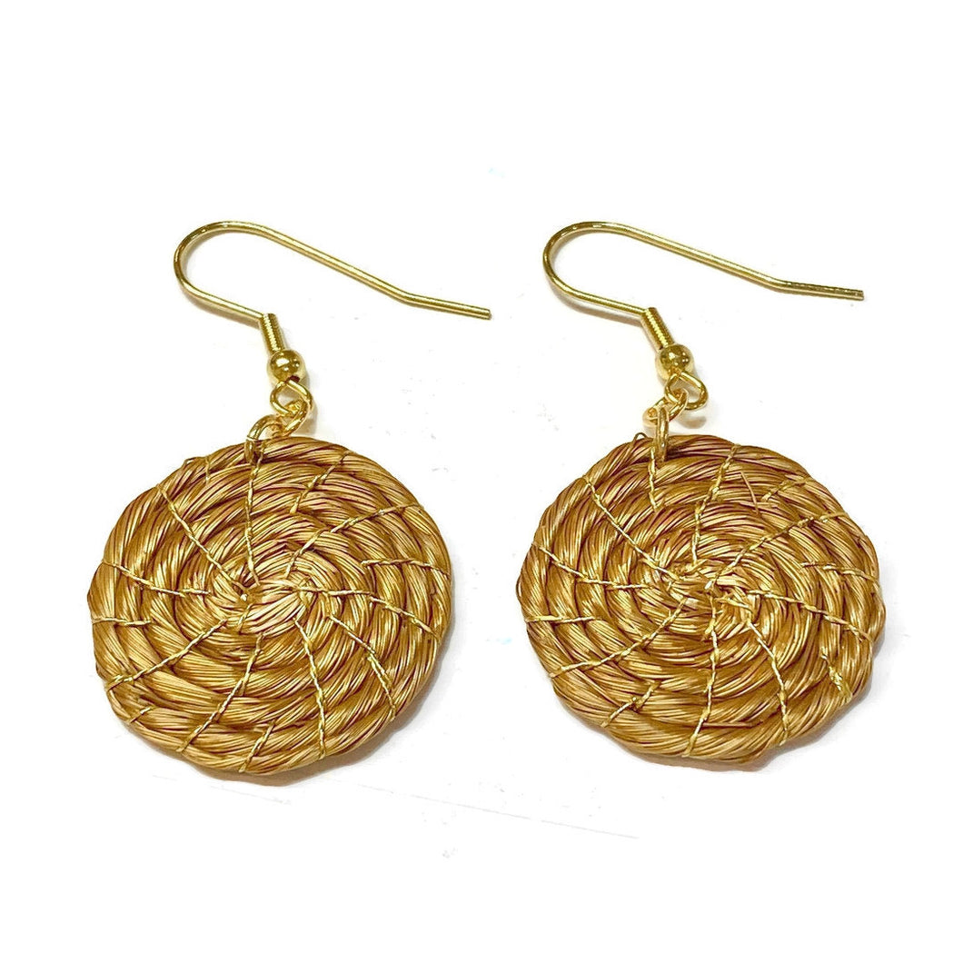 Twisted Golden Grass Hoop Earrings