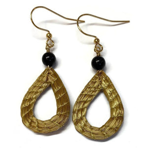 Golden Grass Drop Earrings with Bead of Tagua nut