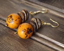 Load image into Gallery viewer, Tagua and Coconut Dangle Earrings- Many Colors