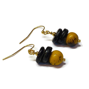 Tagua and Coconut Dangle Earrings- Many Colors