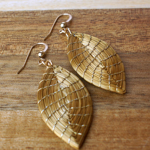 Marquise Golden Grass Earrings