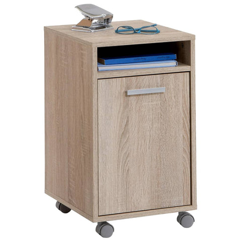FMD Mobile Filing Cabinet with Open Compartment Oak