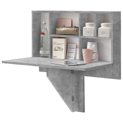FMD Wall-mounted Drop Leaf Table with Shelf Concrete