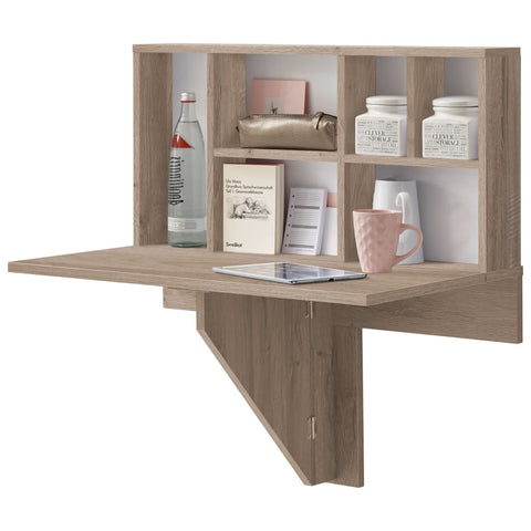 FMD Wall-mounted Drop Leaf Table with Shelf Oak