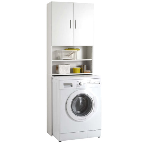 FMD Washing Machine Cabinet with Storage Space White