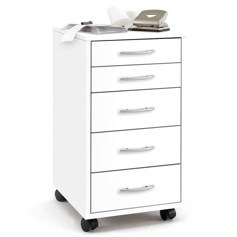 FMD Mobile 5 Drawer Cabinet White