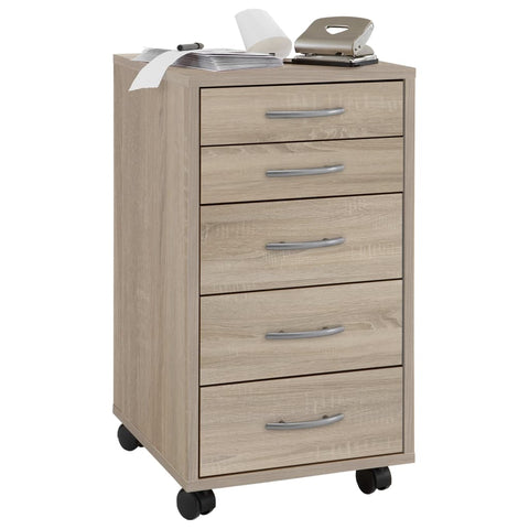 FMD Mobile 5 Drawer Cabinet Oak