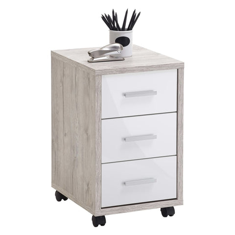 FMD Mobile Drawer Cabinet Sand Oak High Gloss White