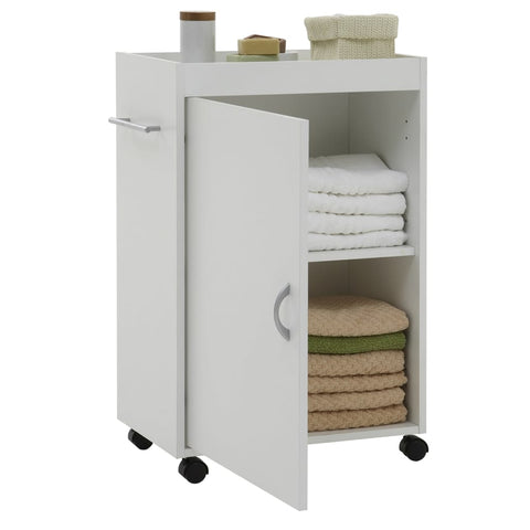 FMD Bathroom Cabinet on Swivel Wheels White