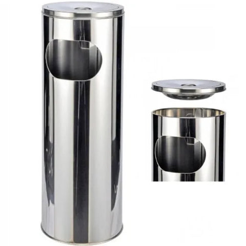 HI Stand Ashtray and Bin Silver 58 cm
